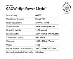 HORTI HIGH-POWER 600W - Panel SMD LED Grow